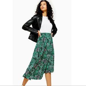 NWT Topshop Green Painted Spot Pleat Midi Skirt